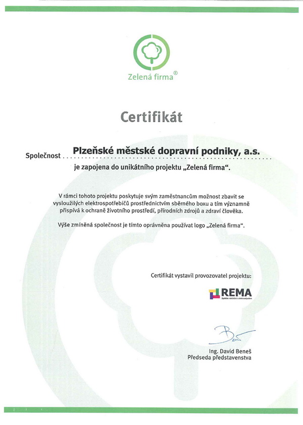 Green Company certificate
